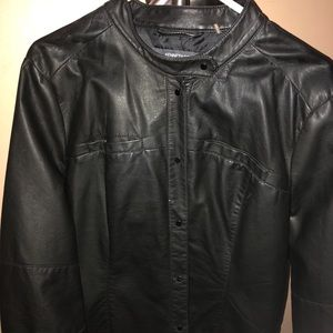 Kenneth Cole leather motorcycle woman's jacket